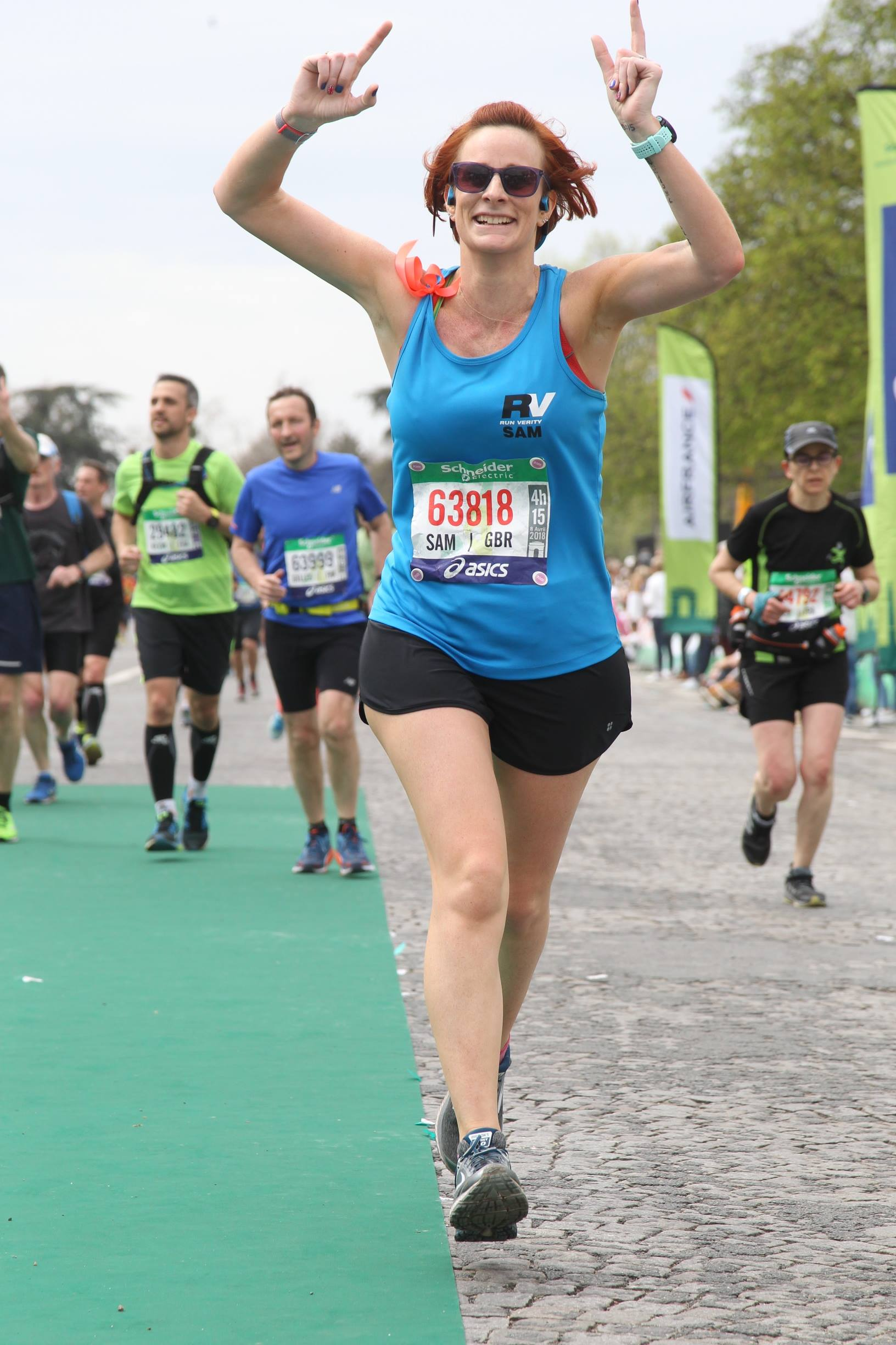Paris Marathon 2018 - Sam joined RV in April 2017 as a complete beginner and a year later she completed Paris Marathon. The photograph shows that even after 26.2 miles her posture is strong compared to the other runners around her. Sam worked hard on her technique over the course of the year, she stayed injury free as she increased her miles and achieved a long held ambition to run a marathon.