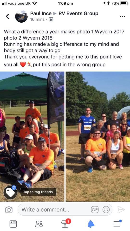 Wyvern 10k - Paul is in the orange t-shirt at the front, the left hand image is 2017 and the right hand image is 2018