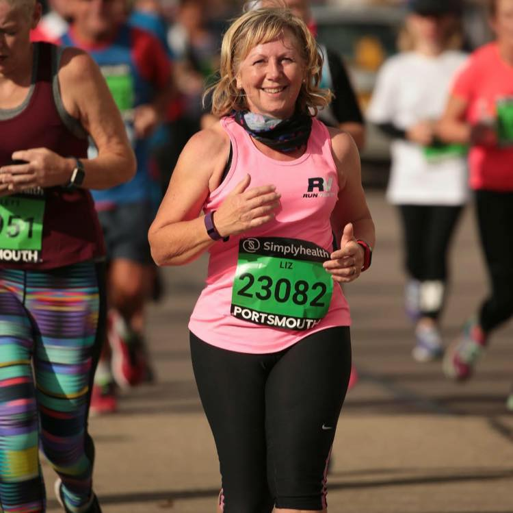 Liz completing the Great South run in October 2017