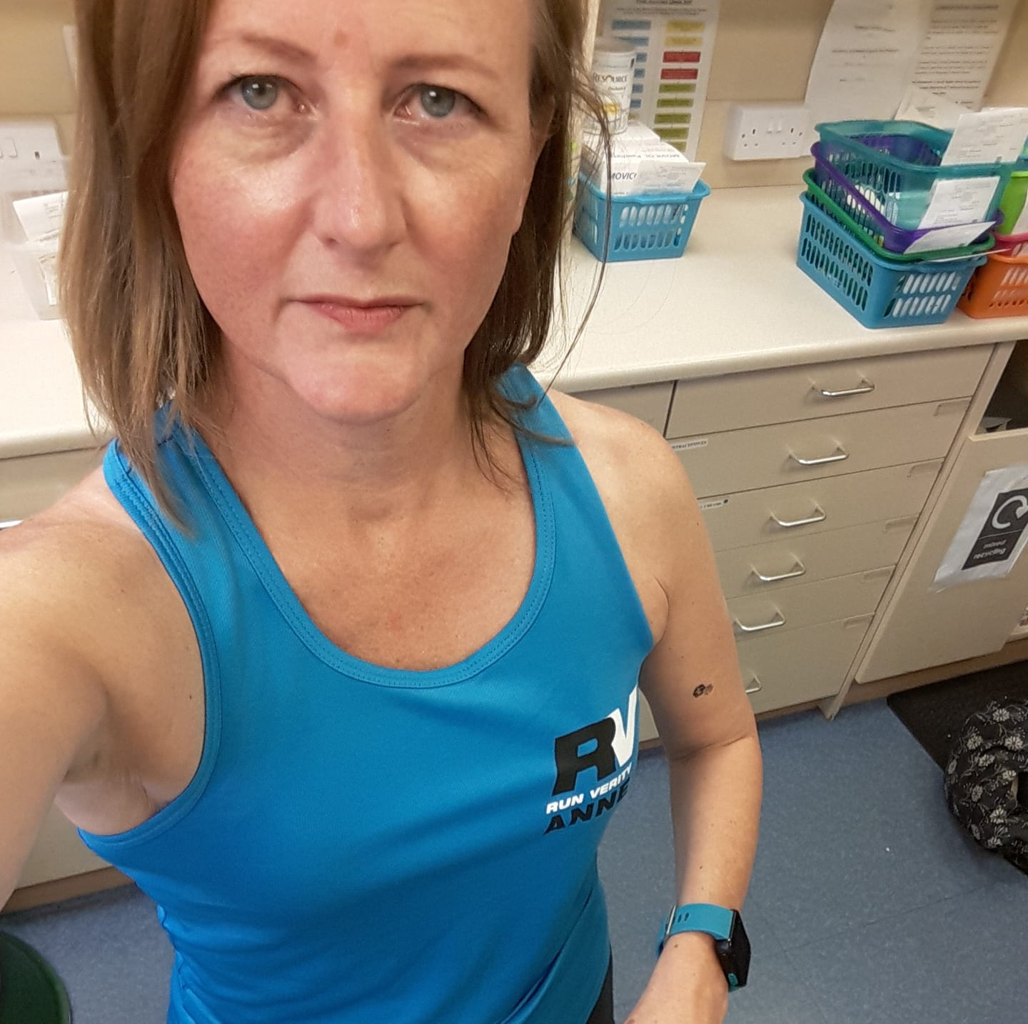 Anne in her colourful RunVerity top