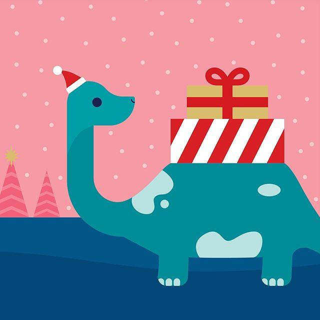 Concept gift card art . . . . . #vectorillustration #vectorart #vectorgraphic #illustrated #giftcards #giftcarddesign #dinosaurs #cuteillustration #christmascards #greetingcarddesign #graphicdesigner #vector_art #dinosaurart #flatillustration