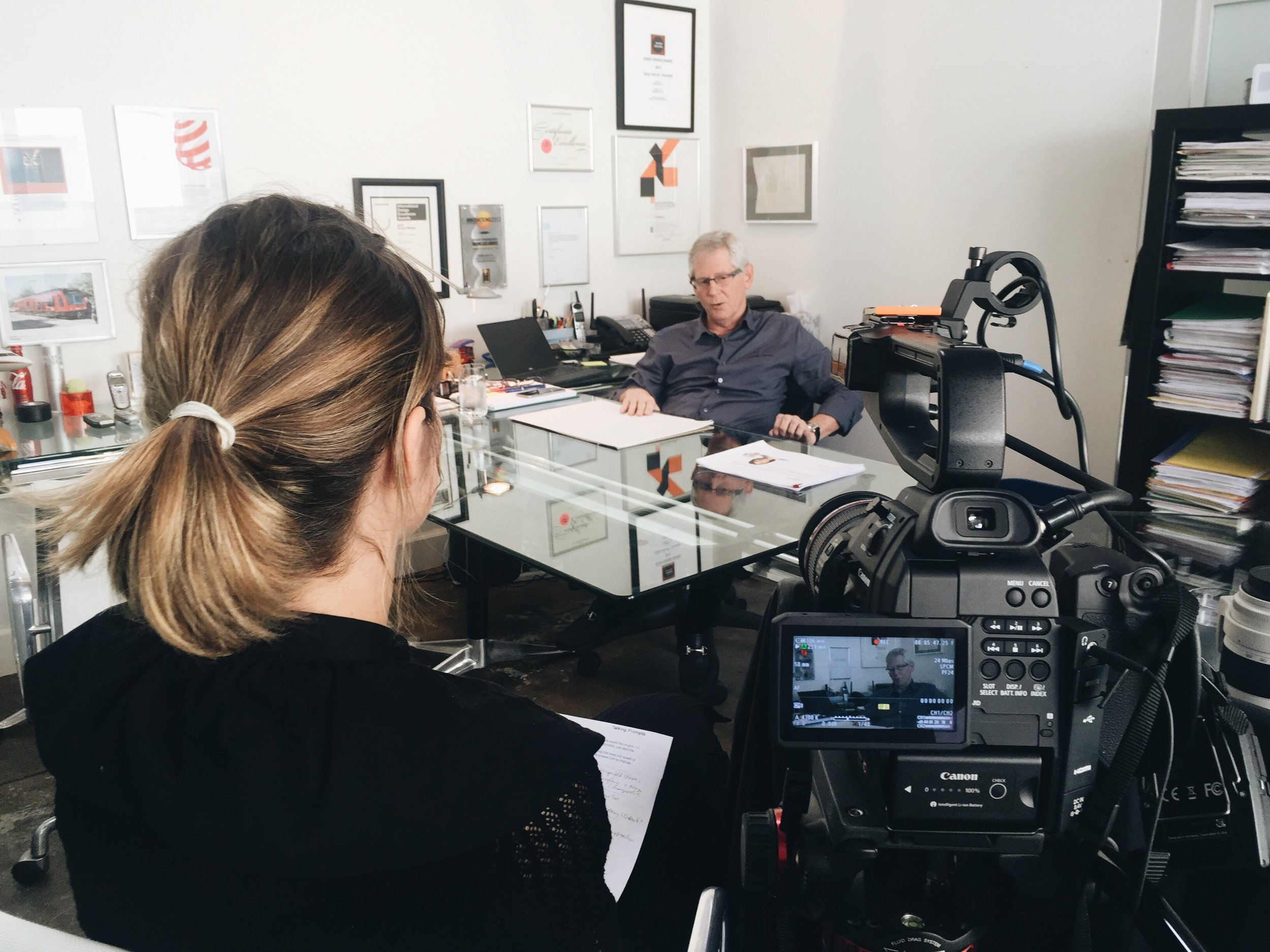 Julika interviewing Gad Shaanan at  Gadlight  about  Human Centered Design  for the  UC San Diego's Design Lab . Photo credit: T. Eco