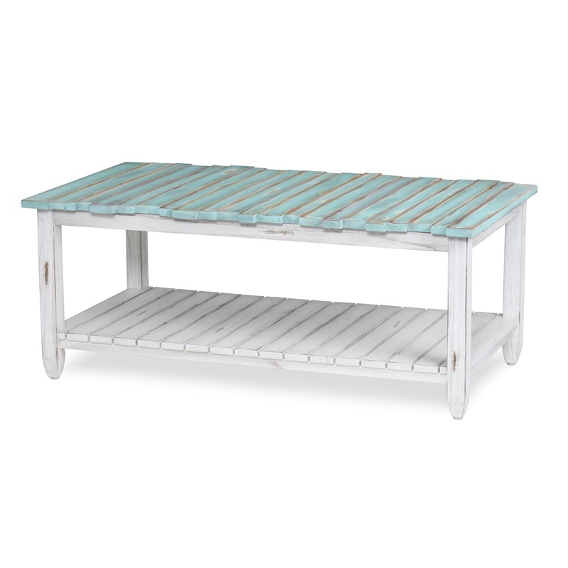 pICKET FENCE COFFEE TABLE MULTI / DISTRESSED WHITE FINISH