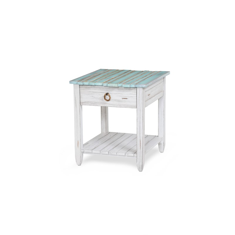 PICKET FENCE END TABLE MULTI / DISTRESSED WHITE FINISH