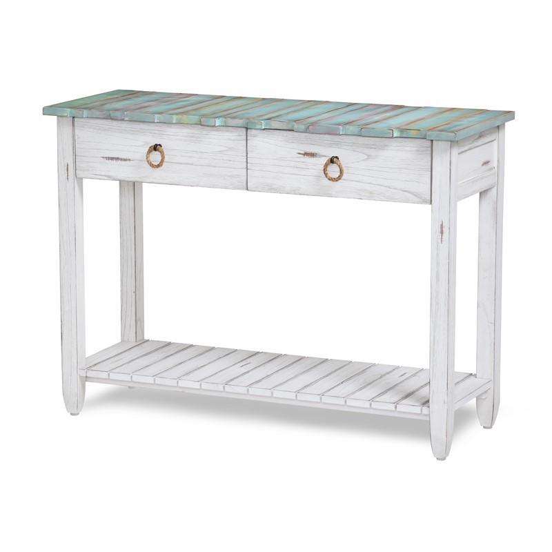 PICKET FENCE CONSOLE TABLE MULTI / DISTRESSED WHITE FINISH