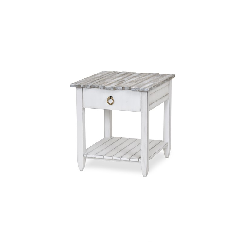 PICKET FENCE END TABLE GREY WASH / DISTRESSED GREY FINISH