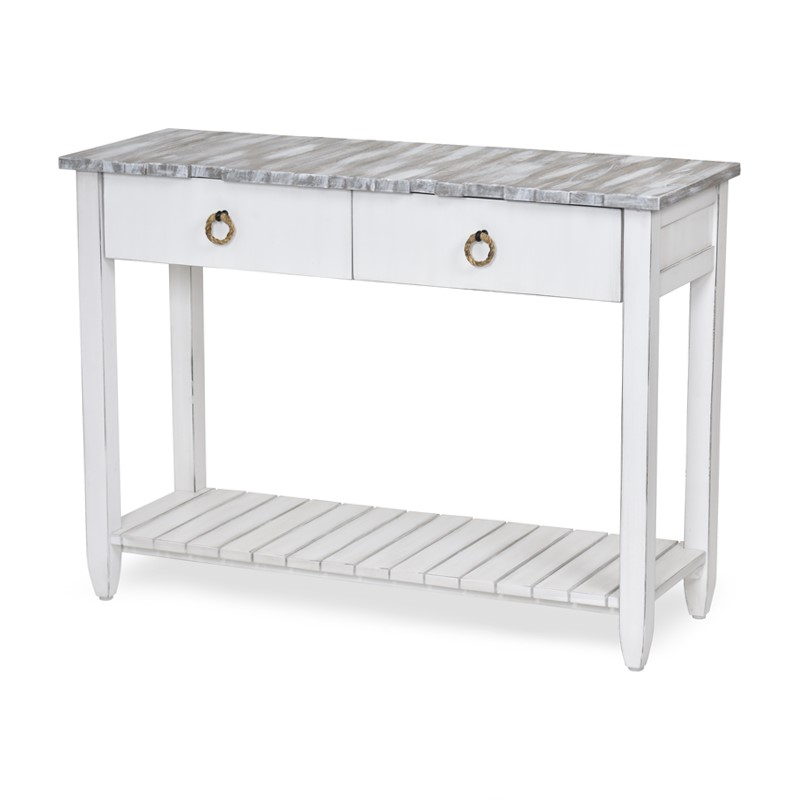 PICKET FENCE CONSOLE TABLE GREY WASH / DISTRESSED WHITE FINISH