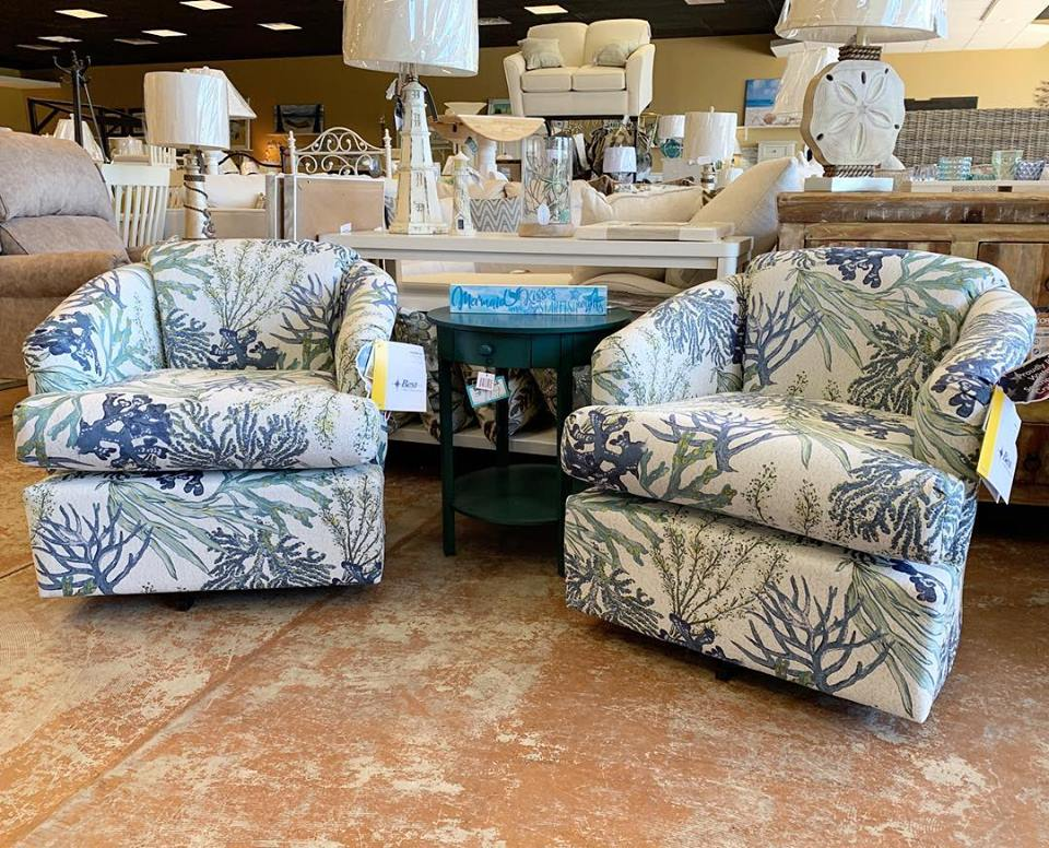 CASS SWIVEL BARREL CHAIRS FEATURED IN CORAL REEF OCEANSIDE