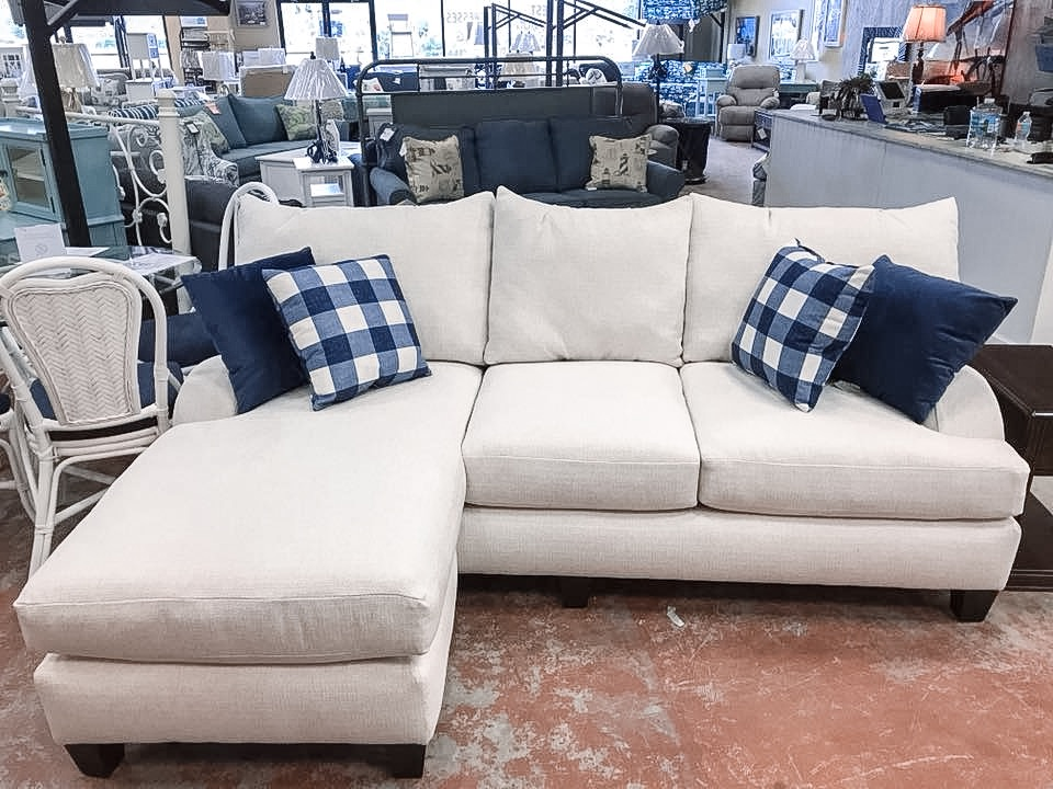 CATALINA SOFA W/ FLOATING CHAISE FEATURED IN PERFOMANCE REVOLUTION SUGAR SHACK VANILLA FABRIC