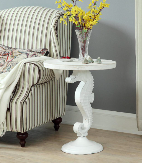 WHITE SEAHORSE ACCENT TABLE