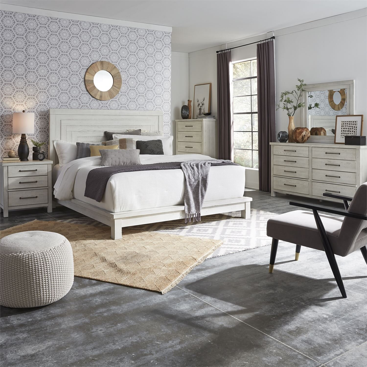 MODERN FARMHOUSE BEDROOM COLLECTION CHEST & NIGHTSTAND IS ONLY AVAILABLE - CALL FOR AVAILABILITY