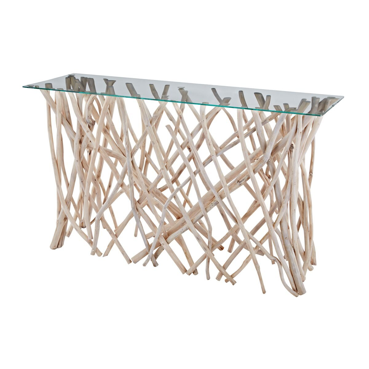 TEAK ROOT CONSOLE W/ GLASS TOP