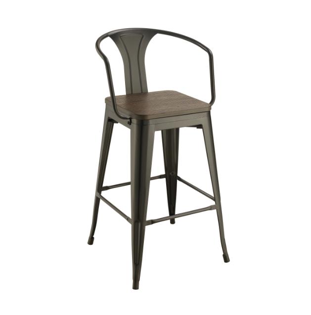 "30"" Dark Elm & Matte Black Stool - Coaster Furniture"
