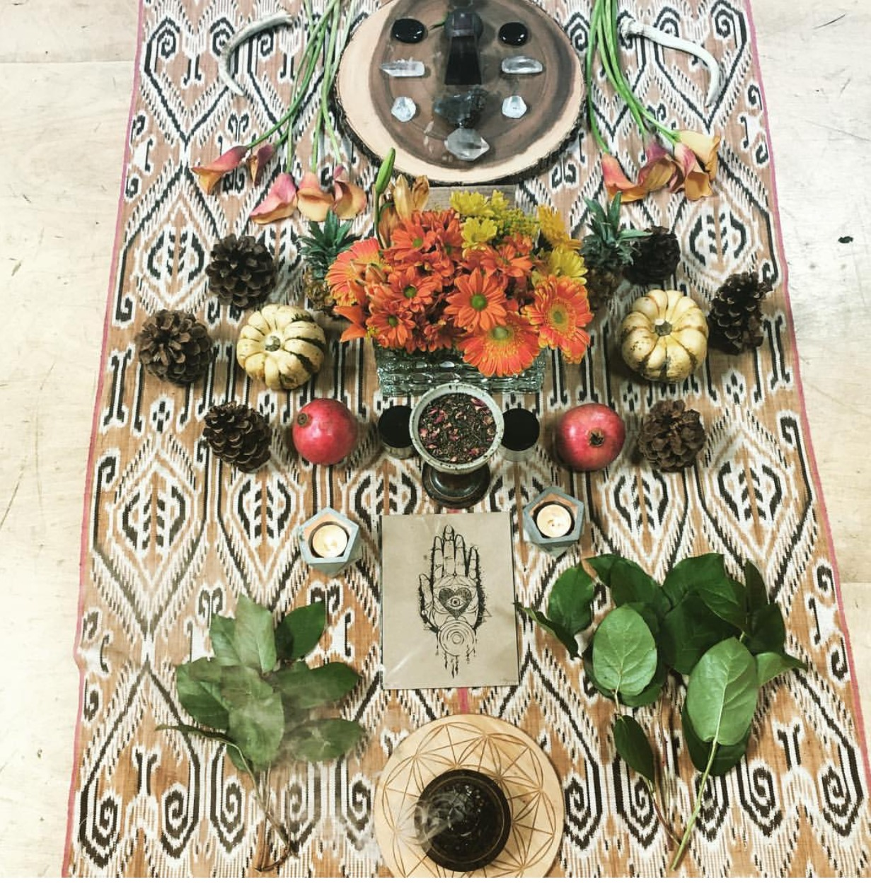 Lovely Solar Plexus and Sacral Chakra Altar just for the Women in attendance. Created by Hasnaa.  Photo Credit: www.instagram.com/vibrationalmedicine