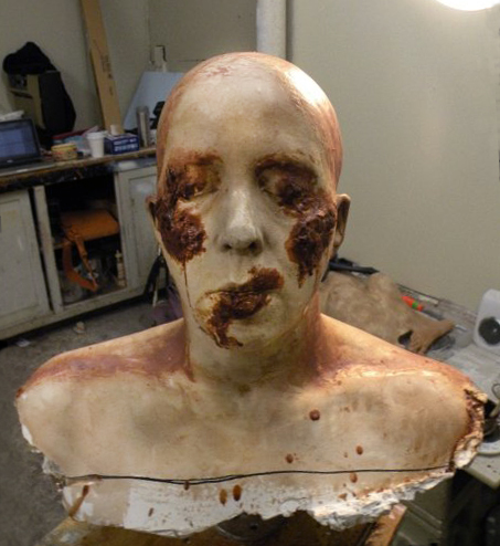 """Plaster with sculpted burns, 2009 (Plaster, Wax 7.5""""x13""""x8"""")"""