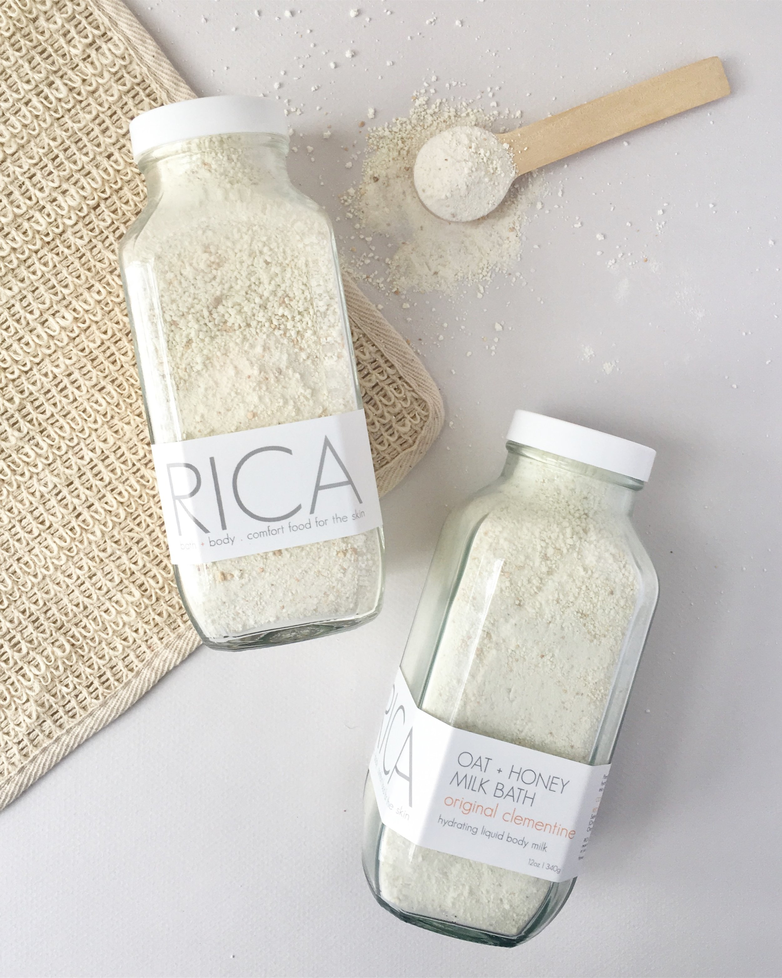 RICA bath + body Oat + Honey Milk Bath Original Clementine Tall 2 jars with spoon.JPG
