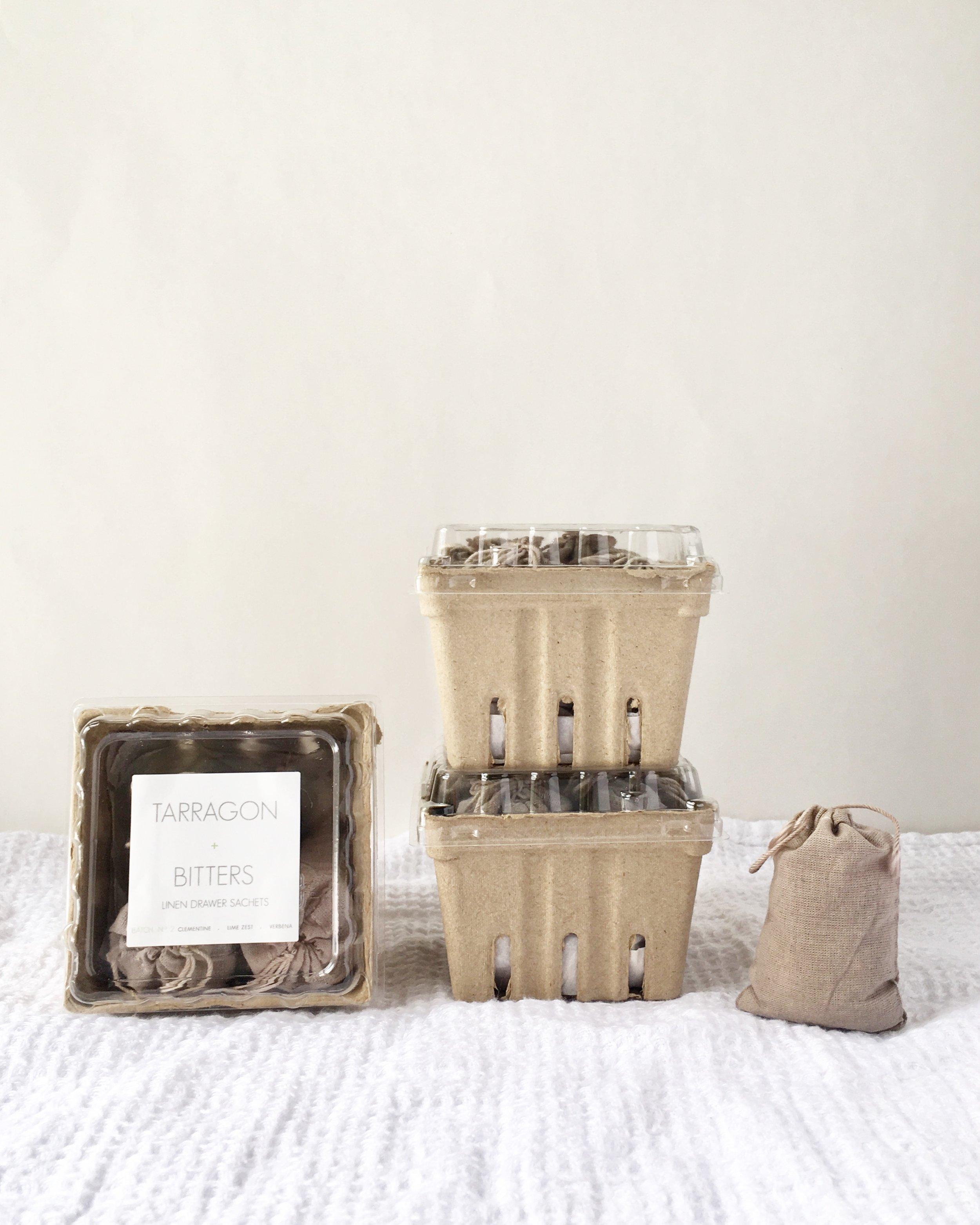 RICA bath + body Linen Drawer Sachets Tarragon + Bitters berry Basket stack.JPG