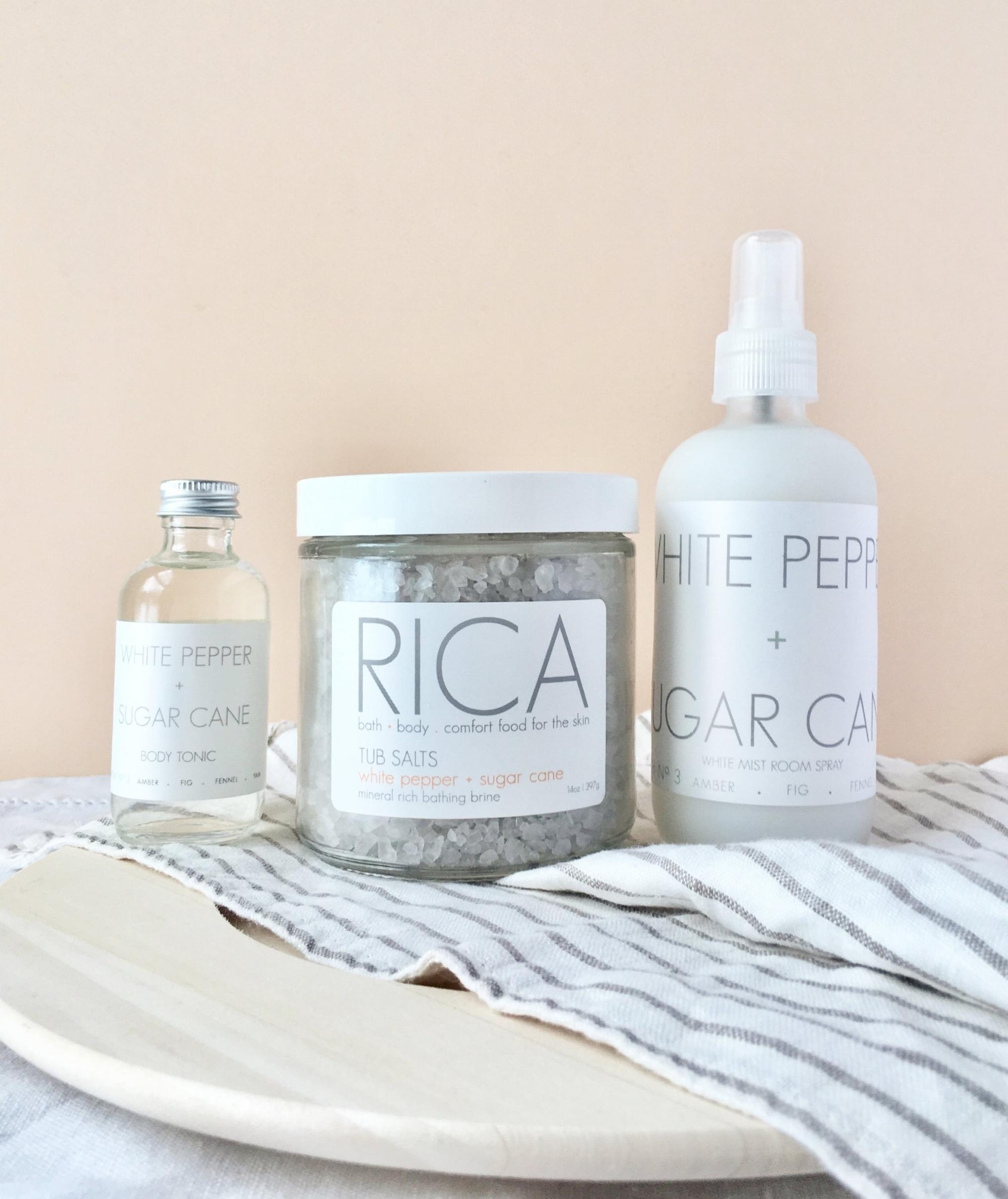 White Pepper + Sugar Cane Body Tonic Tub Salt White Mist Room Spray.JPG