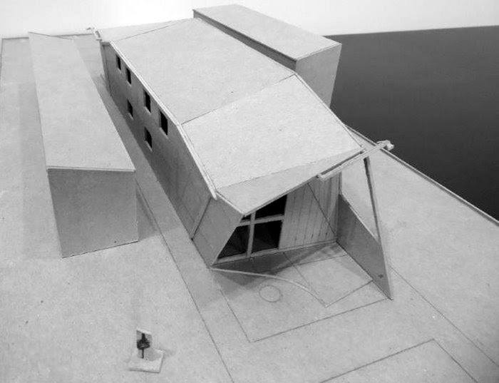 MODEL STUDY: looking SE from rear yard, above