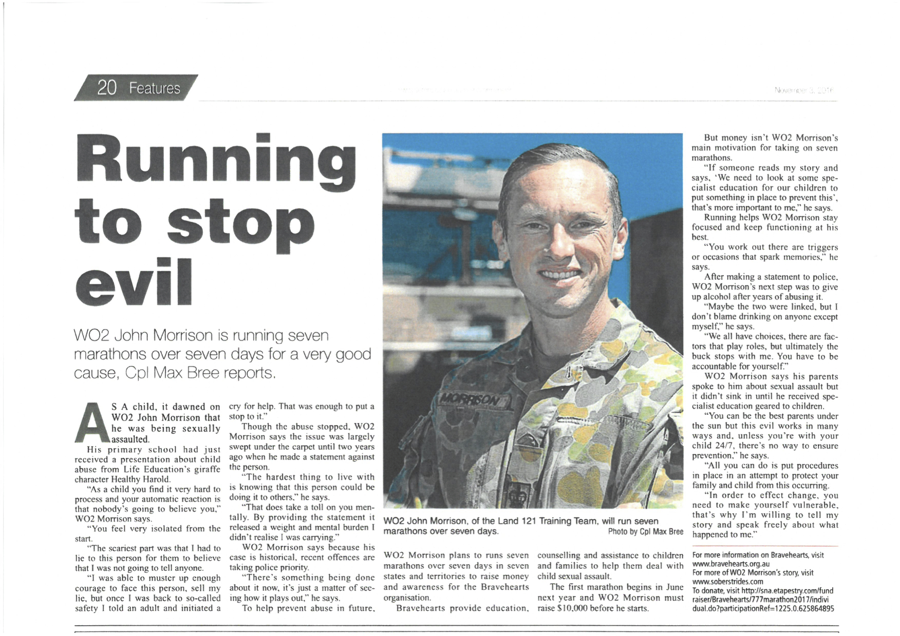 Picture: A short interview in the Australian Army Newspaper.