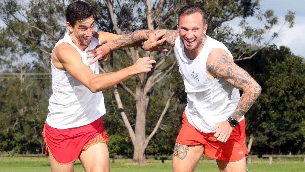 Mates Ben Darcy (left) and Jimmy Morrison have paired up to tackle the Bravehearts 777 challenge. Photo: Richard Gosling