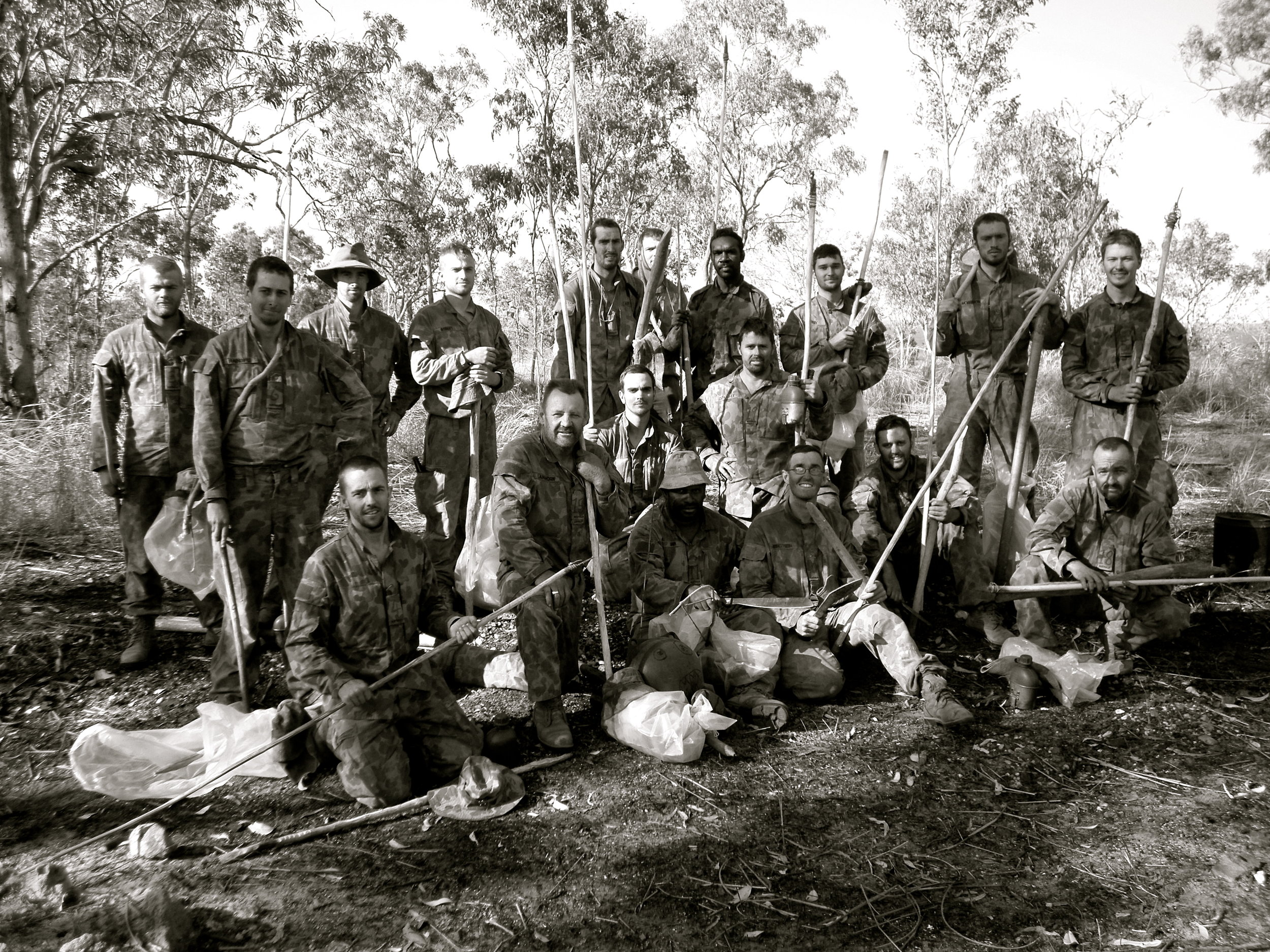 Picture: Me pictured 2nd in, rear left during a survival course held in Arnhem Land, NT 2008 with the Australian Army.