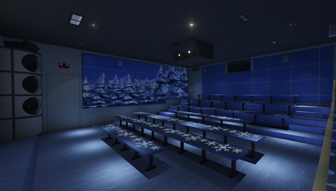 Theater Interior (elements: acoustic panel prints, adhesive bench graphics)