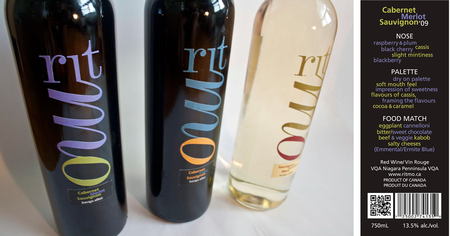 Wine Bottle Labels (left); Back Label (right) - inspiring people to explore and sharpen their senses