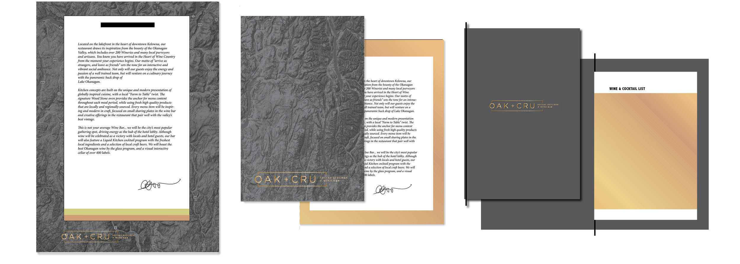 Menu Option 2  substrate: wood board (with edges painted black), cardstock insert pages binding: flat file fastener (painted black) finishes: foil stamped logo (rose gold)