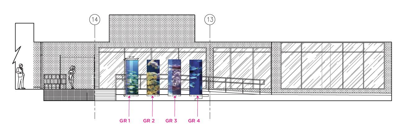 Cylinder Graphics on East Wall Elevation