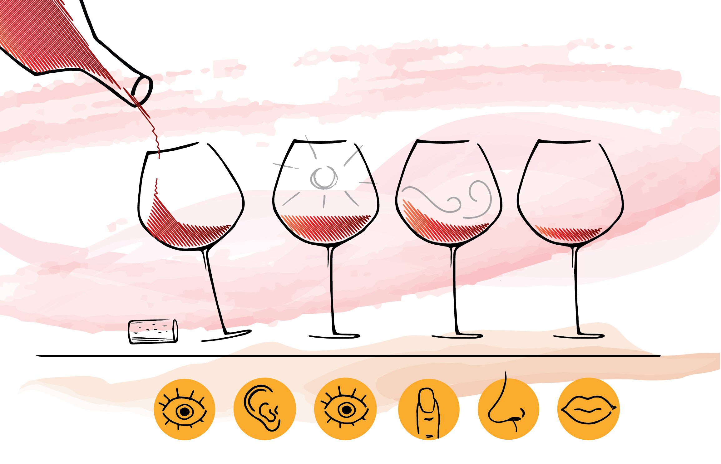 "TITLE: ""Human Experience Design - Learning from Wine Tasting"" Various hand-drawn elements combined into a digital layout."