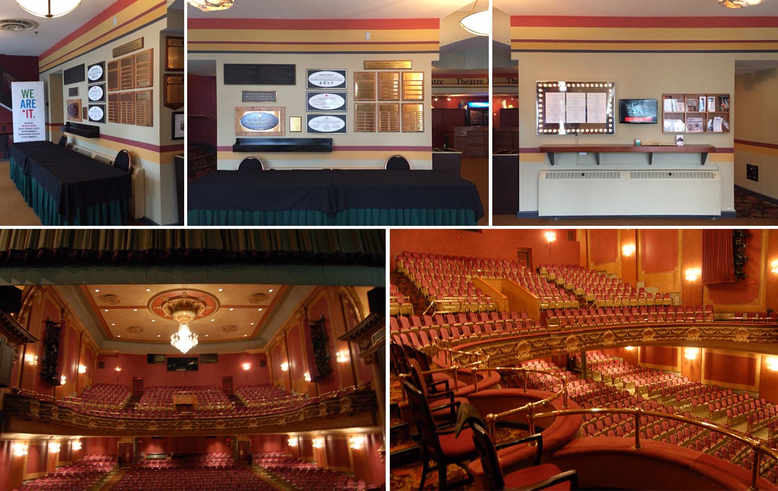 Photos of the current Imperial Theater (above) Entry Donor Walls (below) Theater Interior