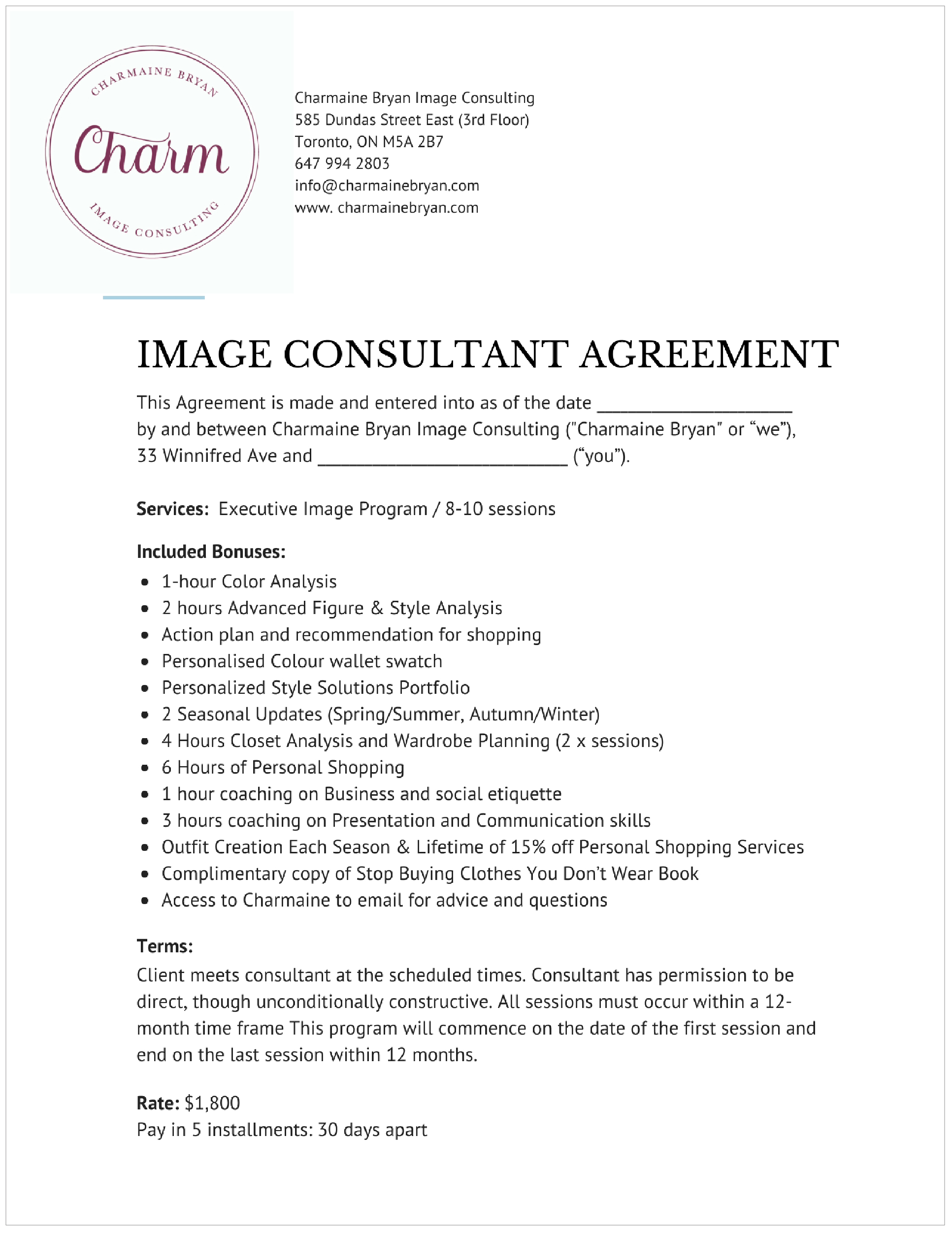 Collateral Piece - Formal Agreement Document (above)