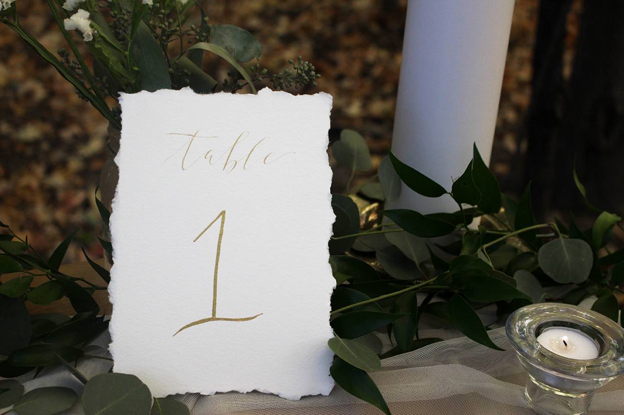 Organic Calligraphy Gold Ink Table Number