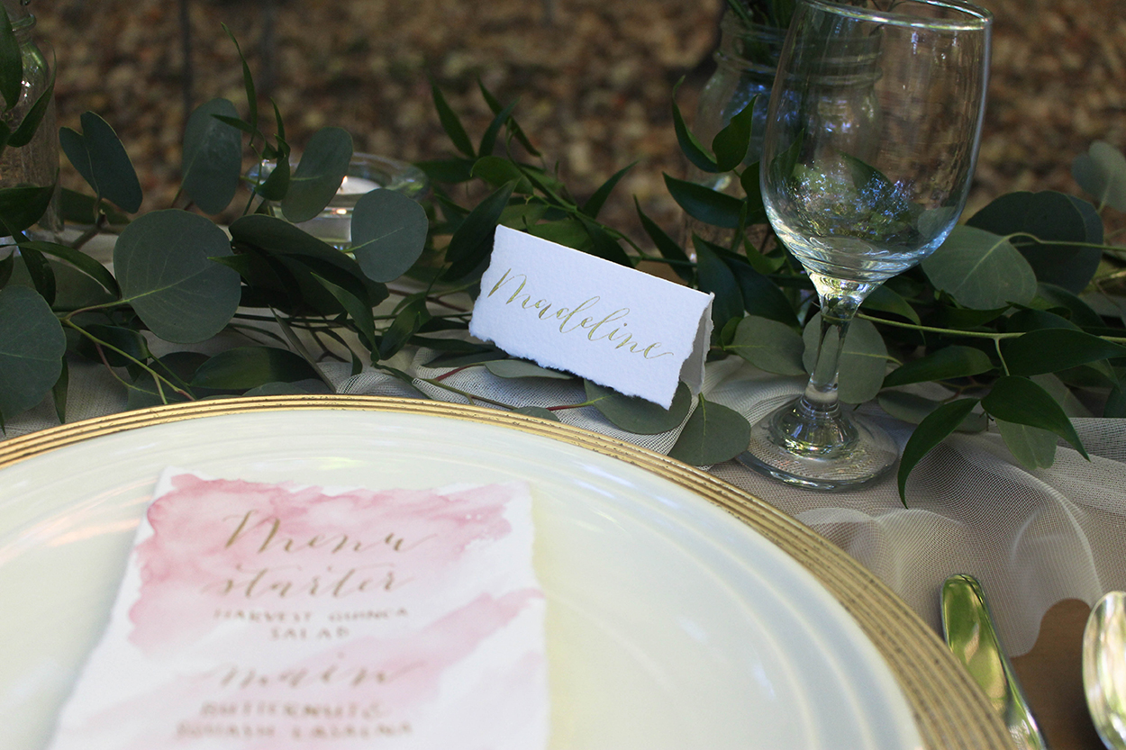 Watercolor Menu and Gold Ink Place Card