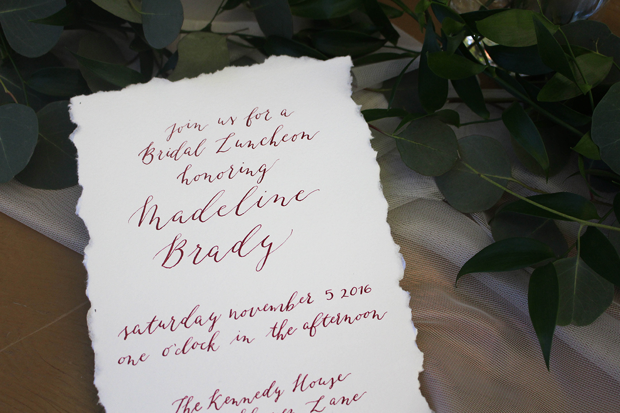 Organic Calligraphy Deckled Edge Bridal Lunch Invitation with Burgundy Ink