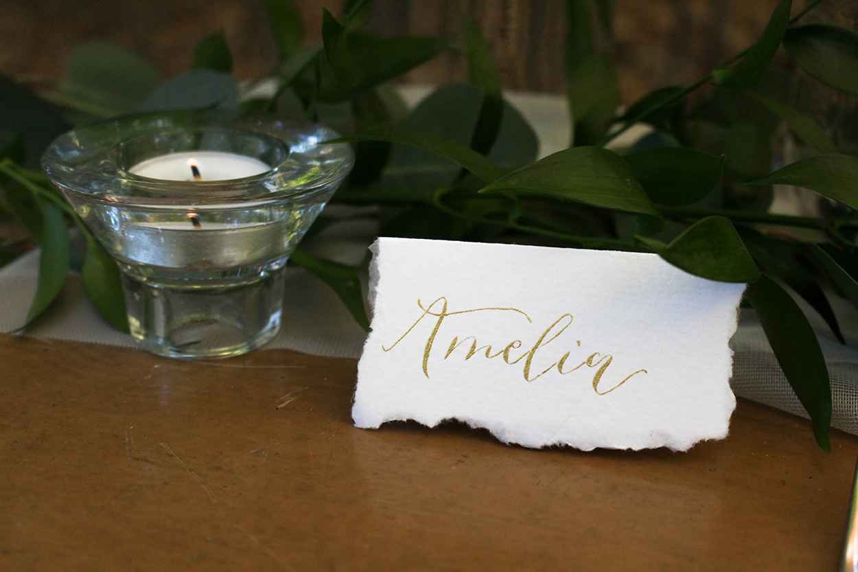 Gold Ink Deckled Edged Place Card