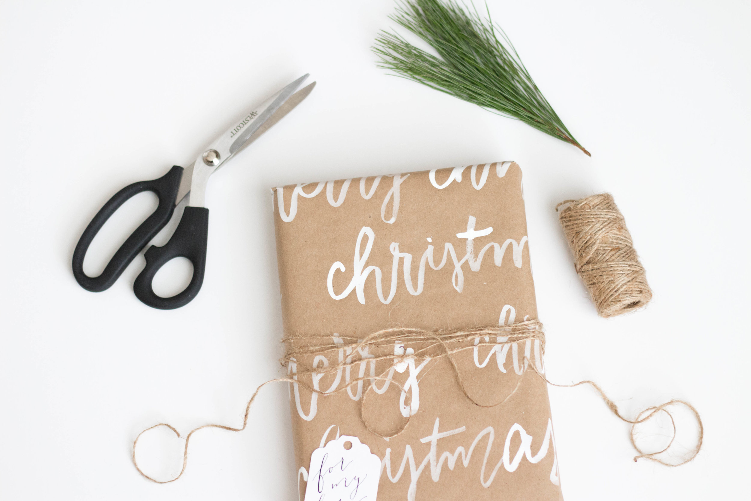 Hand Lettered Kraft Christmas Wrapping Paper