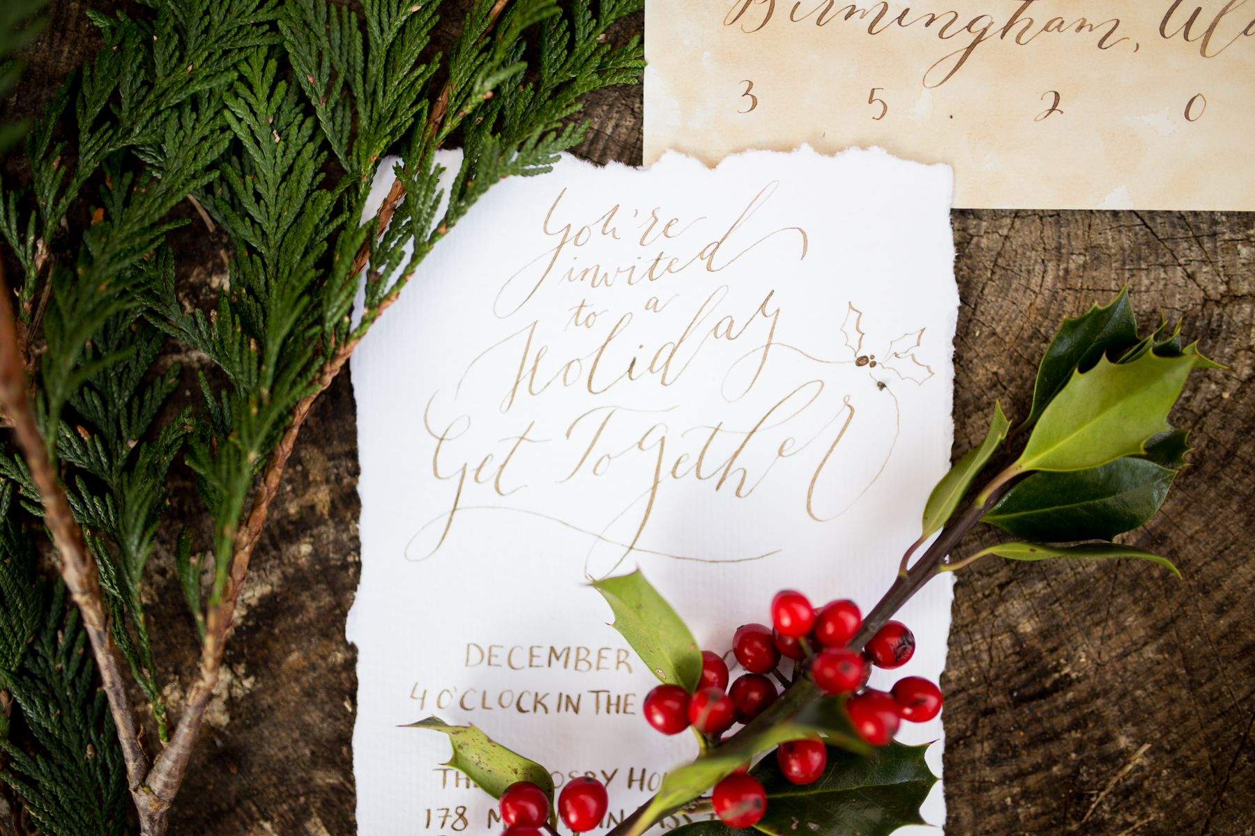Organic Calligraphy Holiday Party Invitation