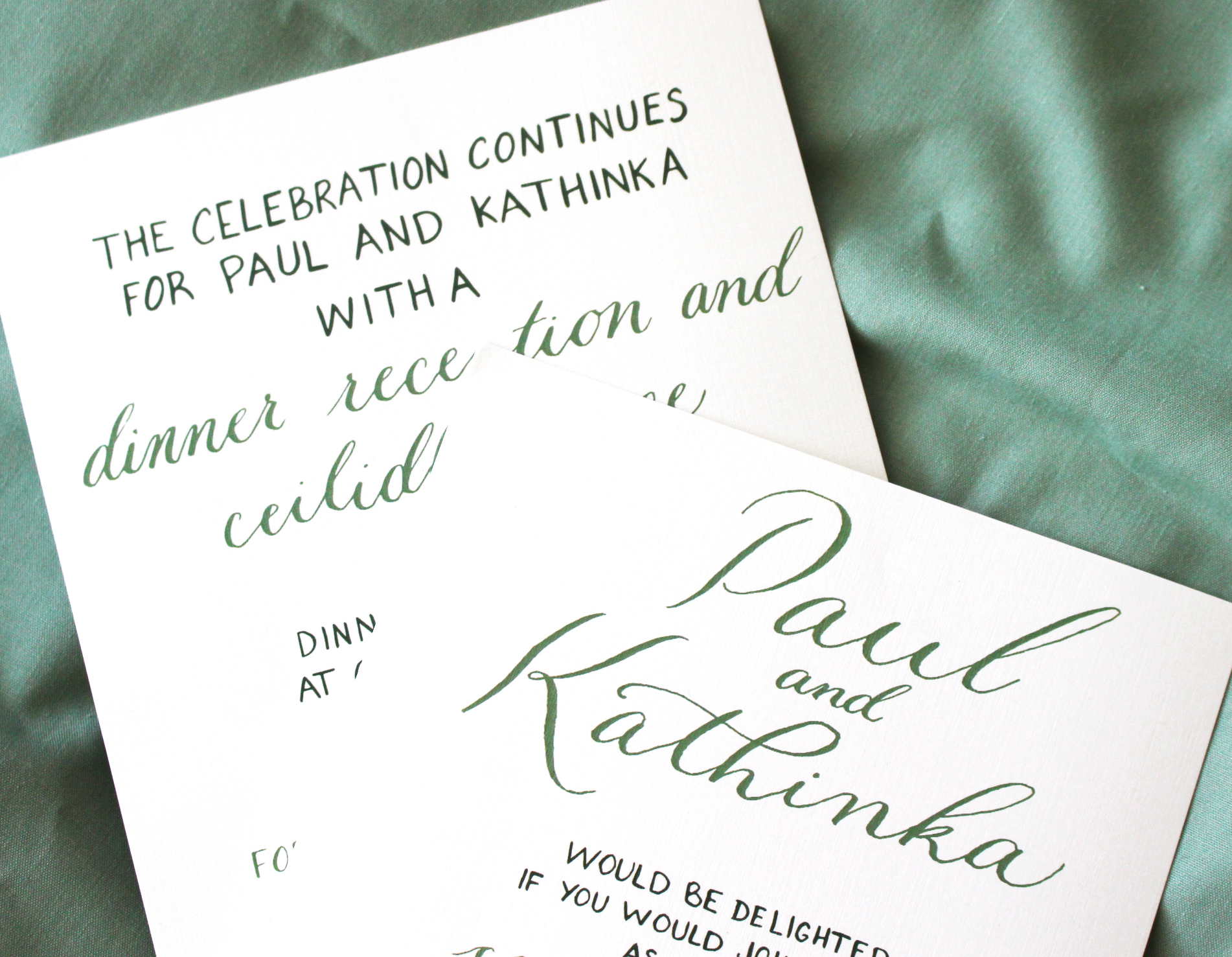 Calligraphy and Hand Lettered Wedding Invitations