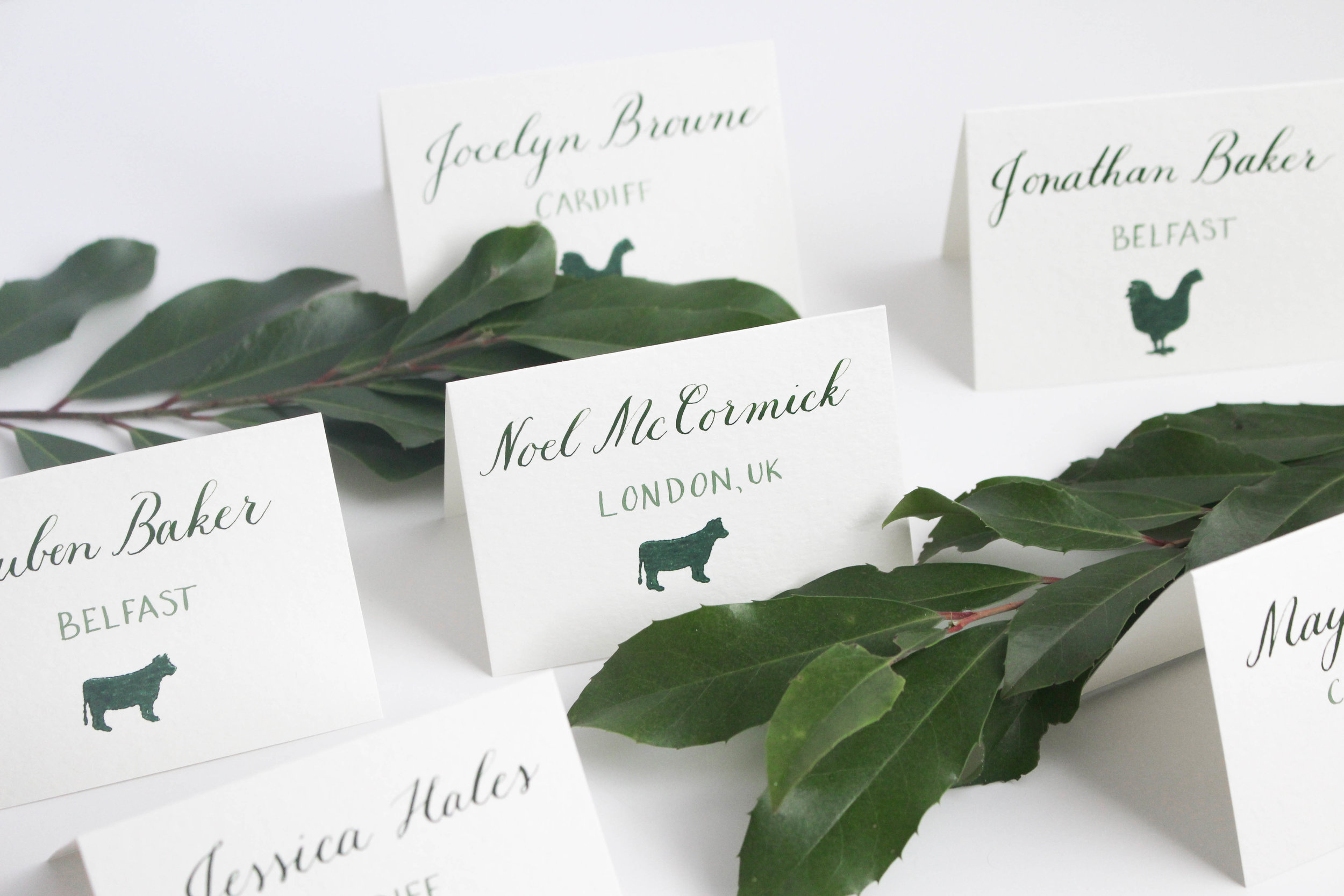 Copperplate Calligraphy Placecards with Menu Stamps