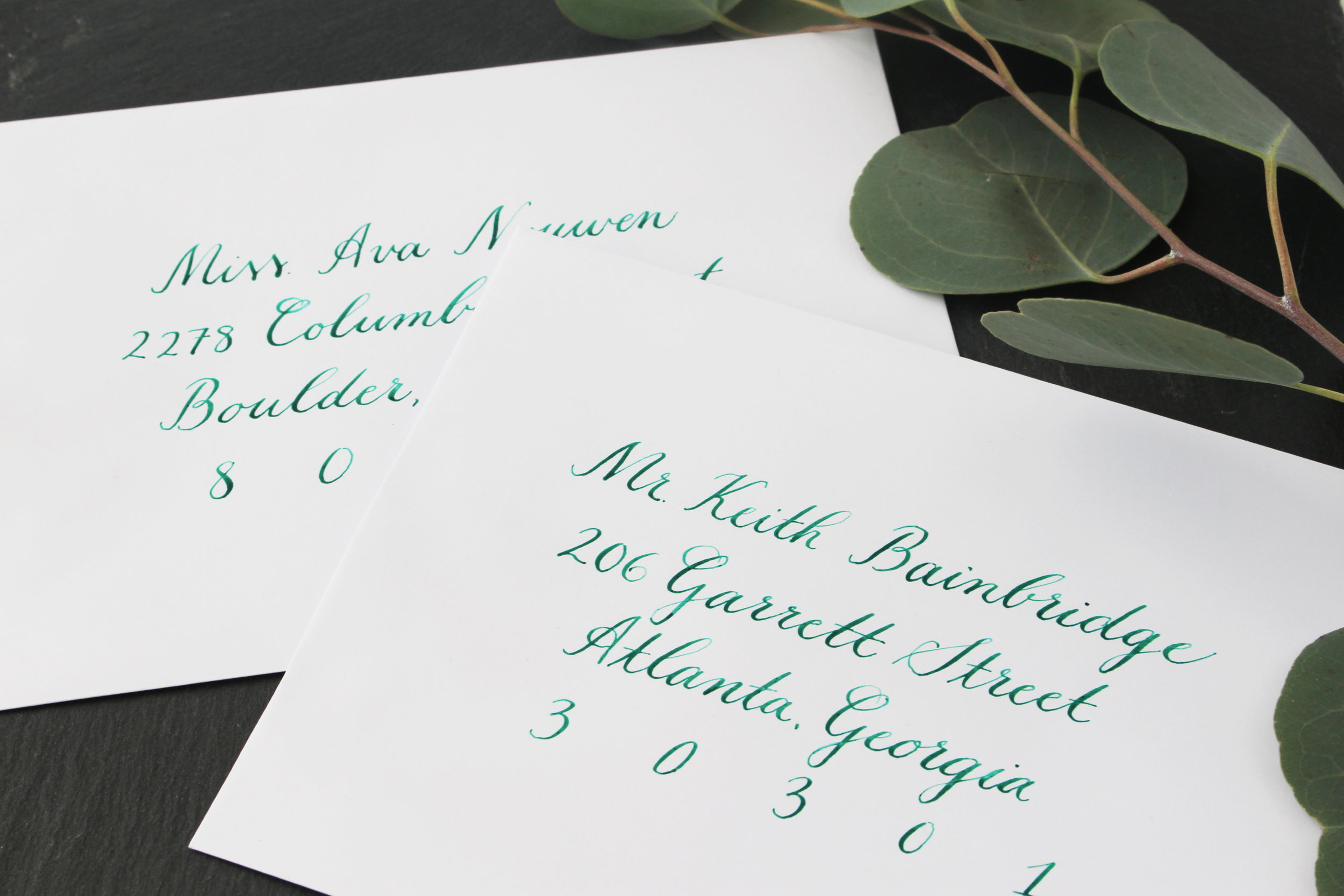 Copperplate Calligraphy Envelopes with Green Ink