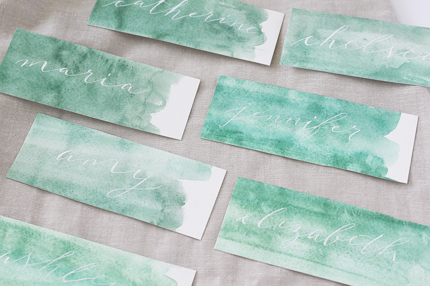 Green Watercolor White Ink Calligraphy Place Cards