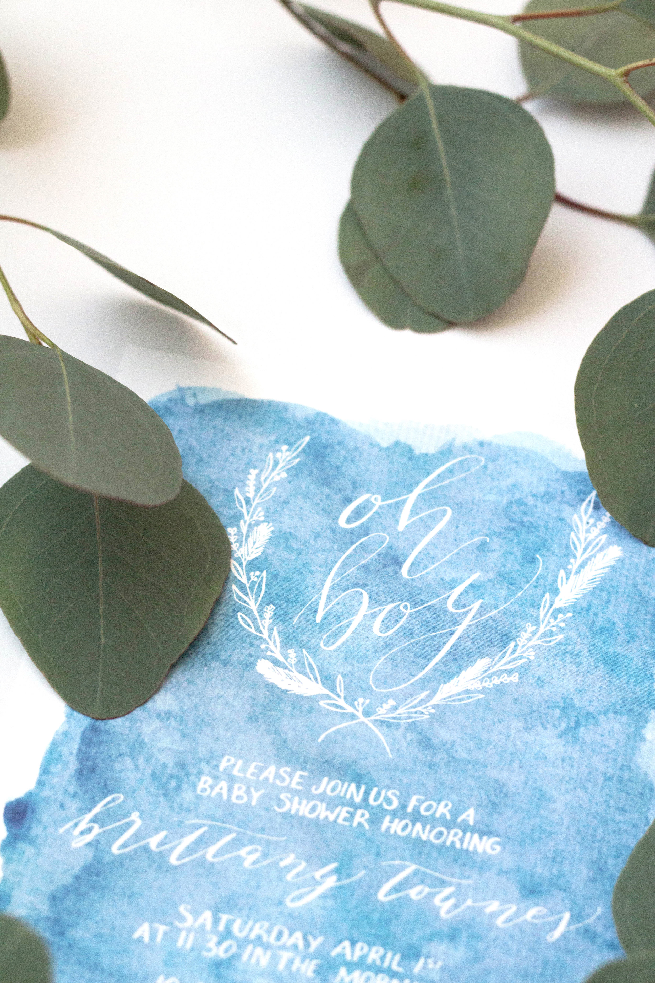 Baby Shower Invitation featuring Organic Modern Calligraphy     True North Paper Co.