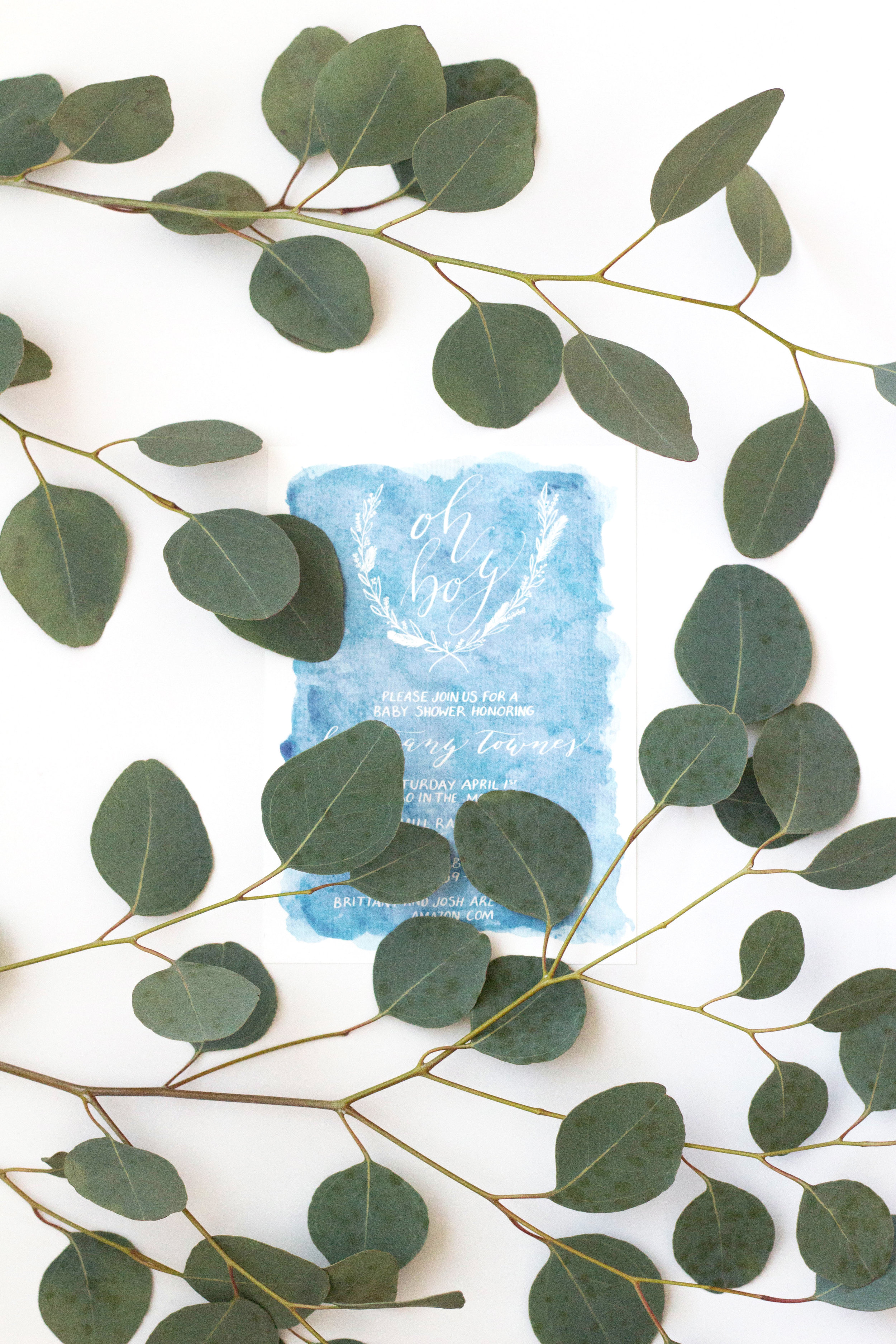 Invitation featuring watercolor & modern calligraphy    True North Paper Co.