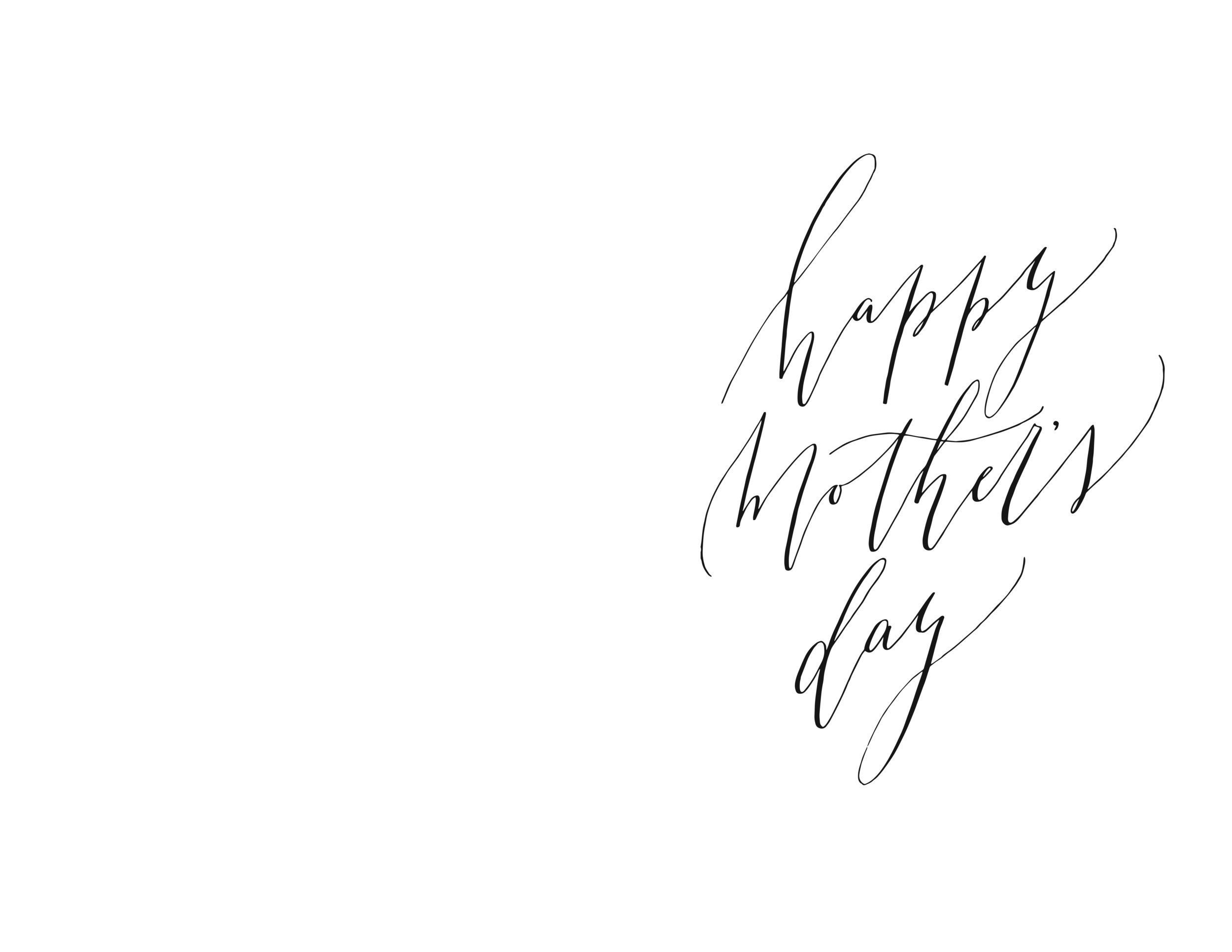 Free Printable Mothers Day Card - Calligraphy - True North Paper Co.