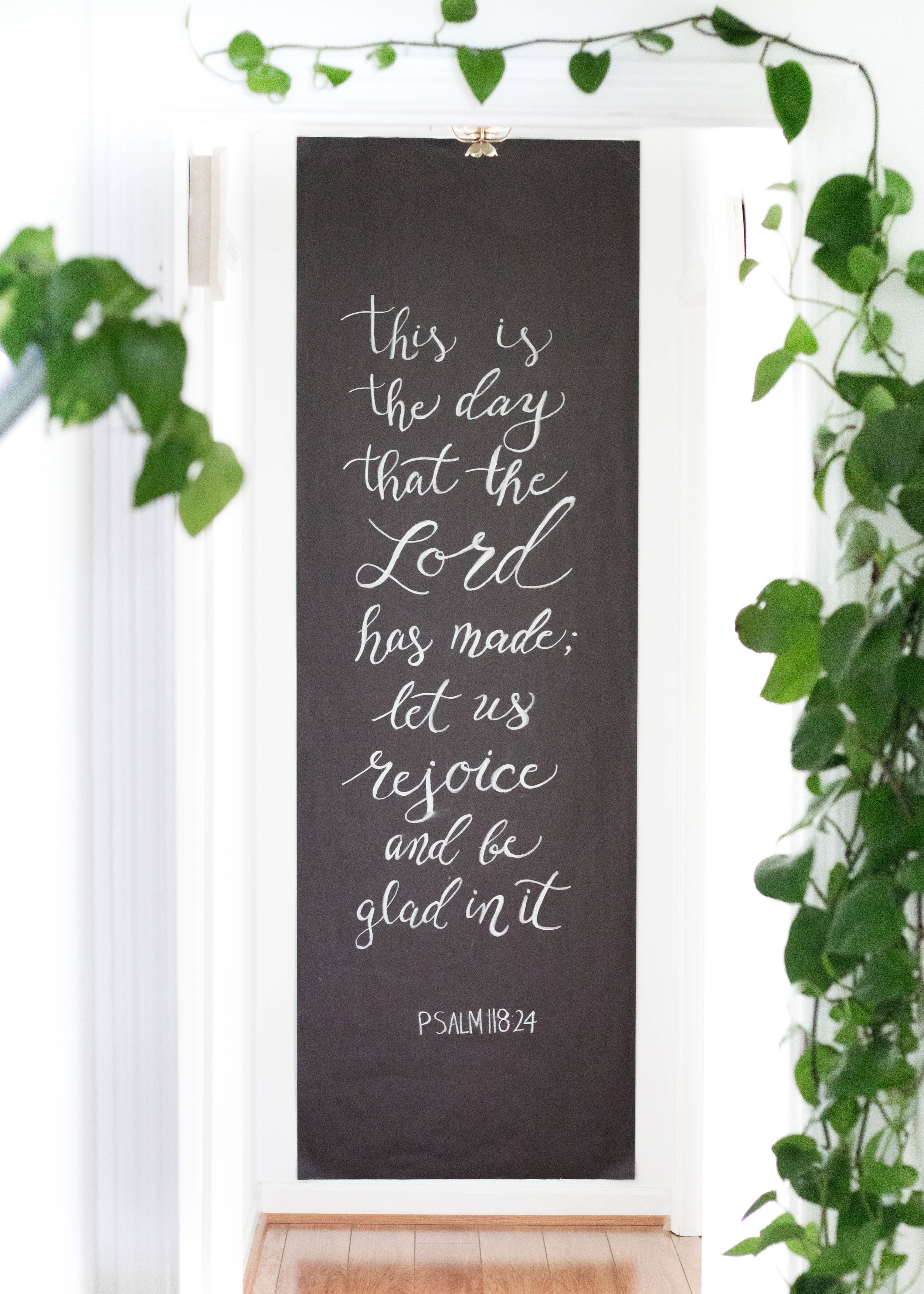 Modern Calligraphy Chalk Sign with Bible Verse as Home Decor - True North Paper Co.