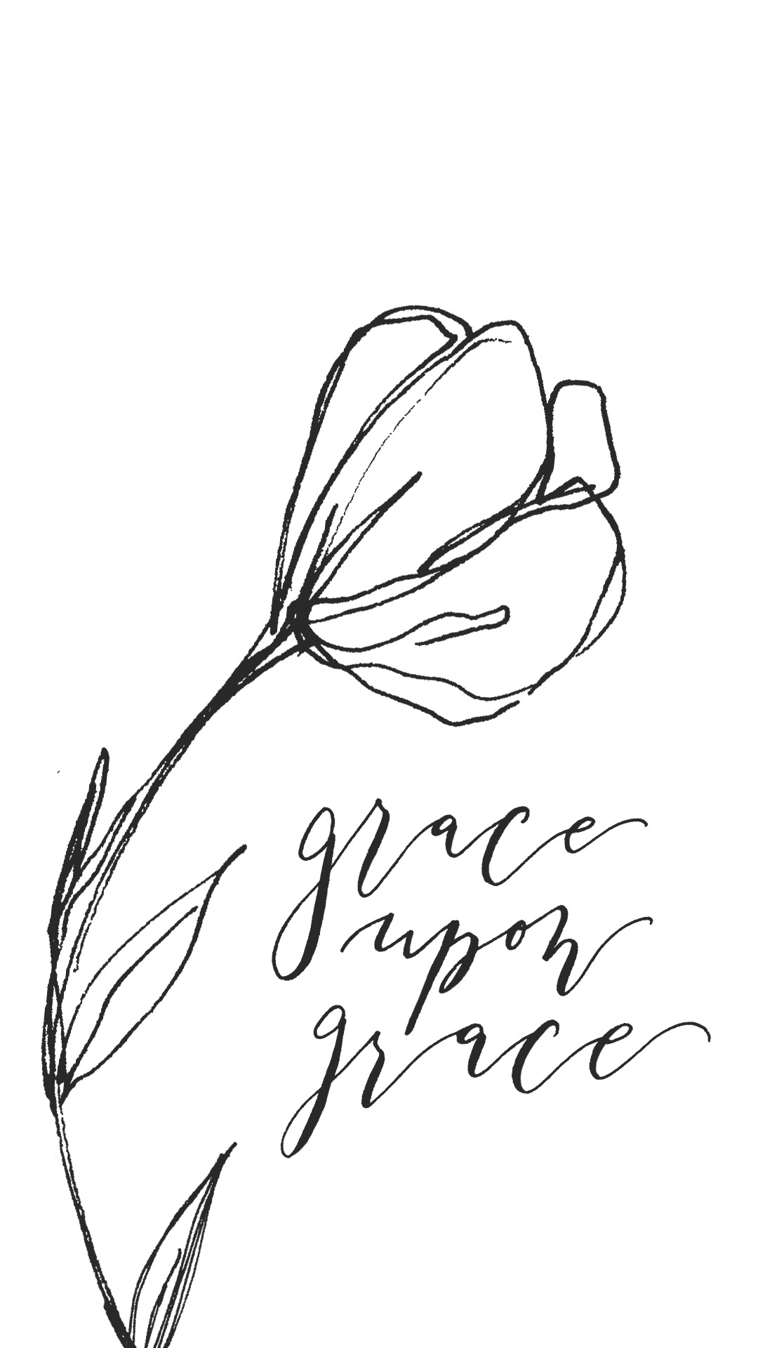 Grace Upon Grace Lock Screen in Calligraphy - True North Paper Co.