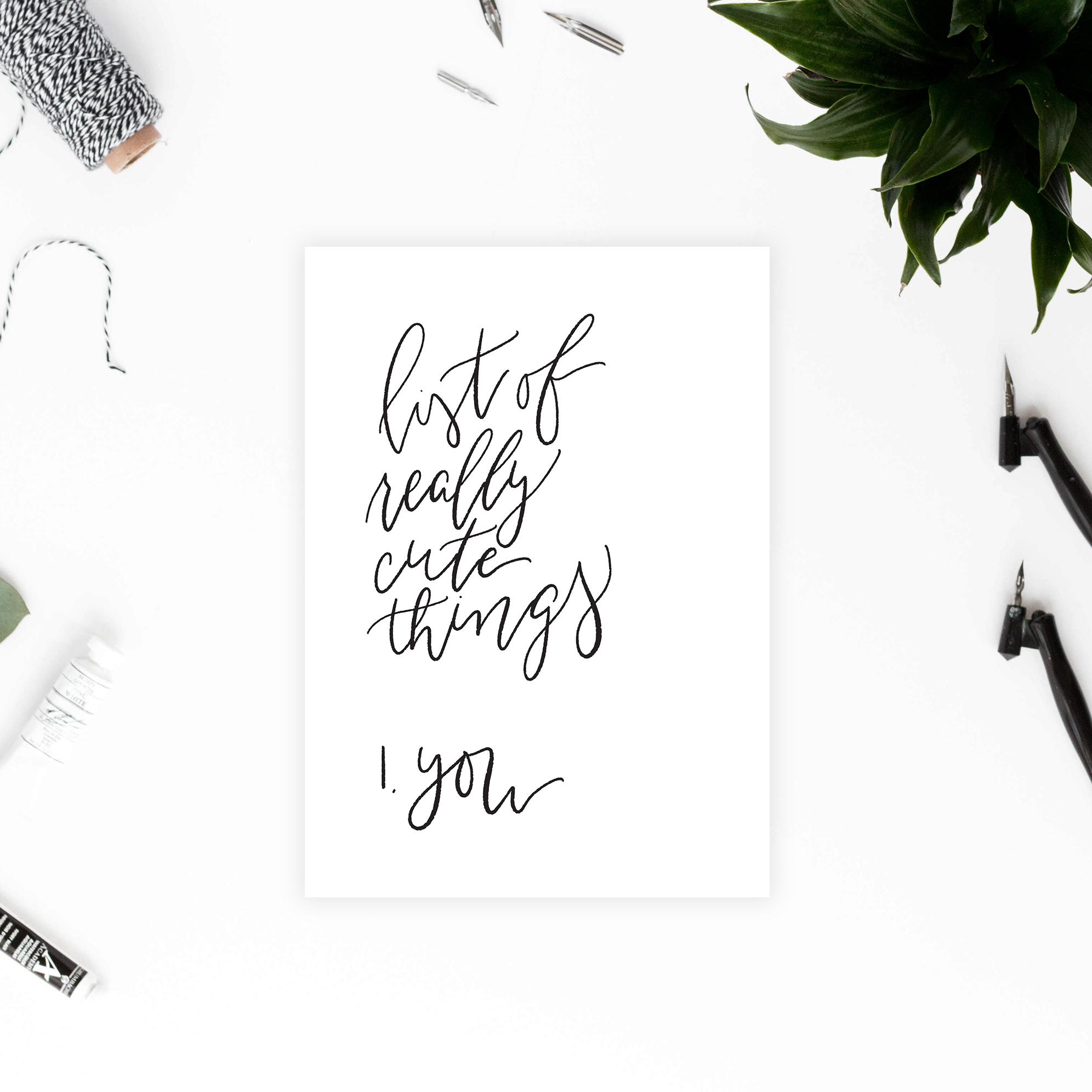 List of Really Cute Things Card - DIY Valentines Day Printable Card - Romantic and Sweet Greeting Card featuring Minimalist Design and Calligraphy - True North Paper Co.