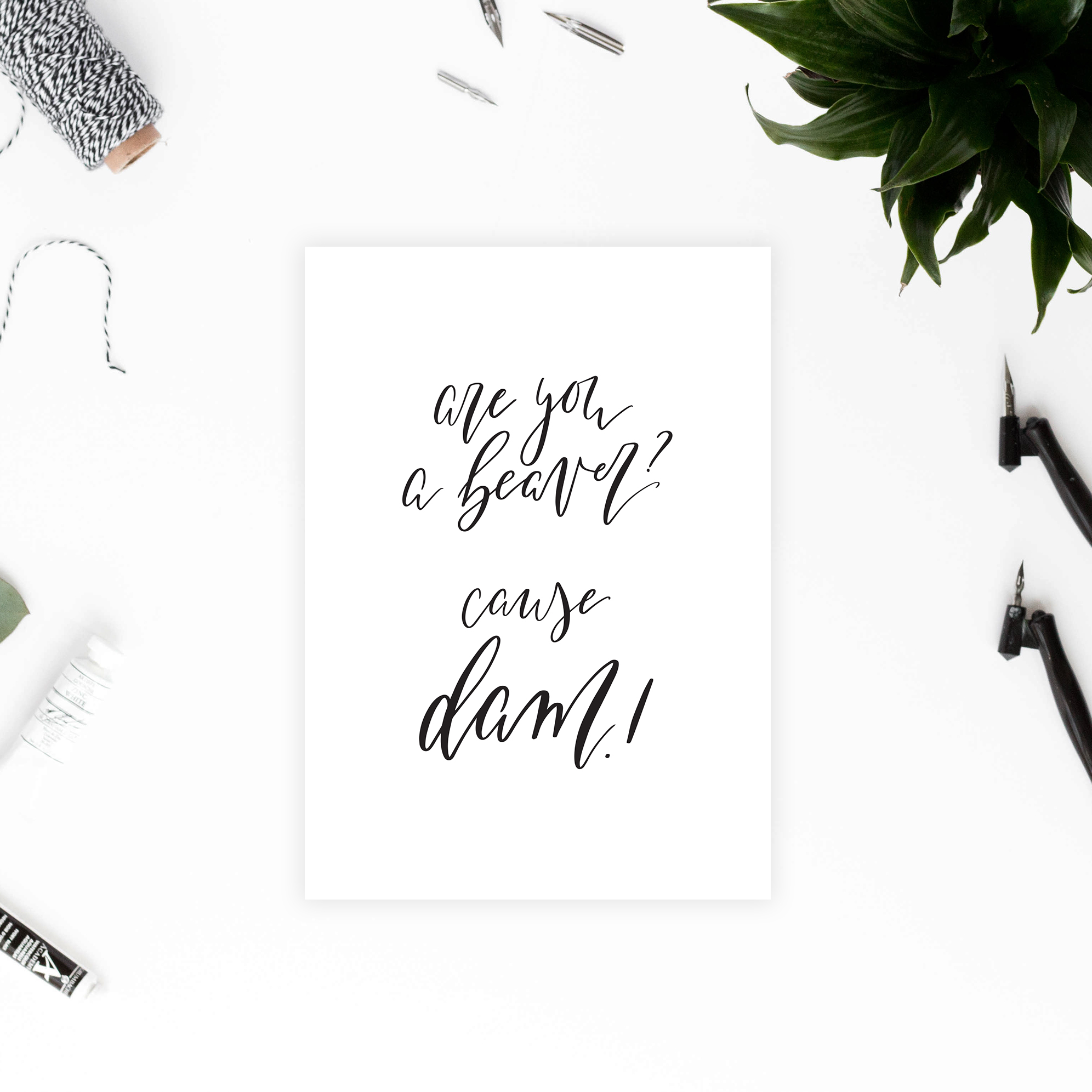 Are You A Beaver? Cause Dam! - Printable Valentines/Anniversary Card -  Fun and Punny Greeting Card featuring Modern Calligraphy - True North Paper Co